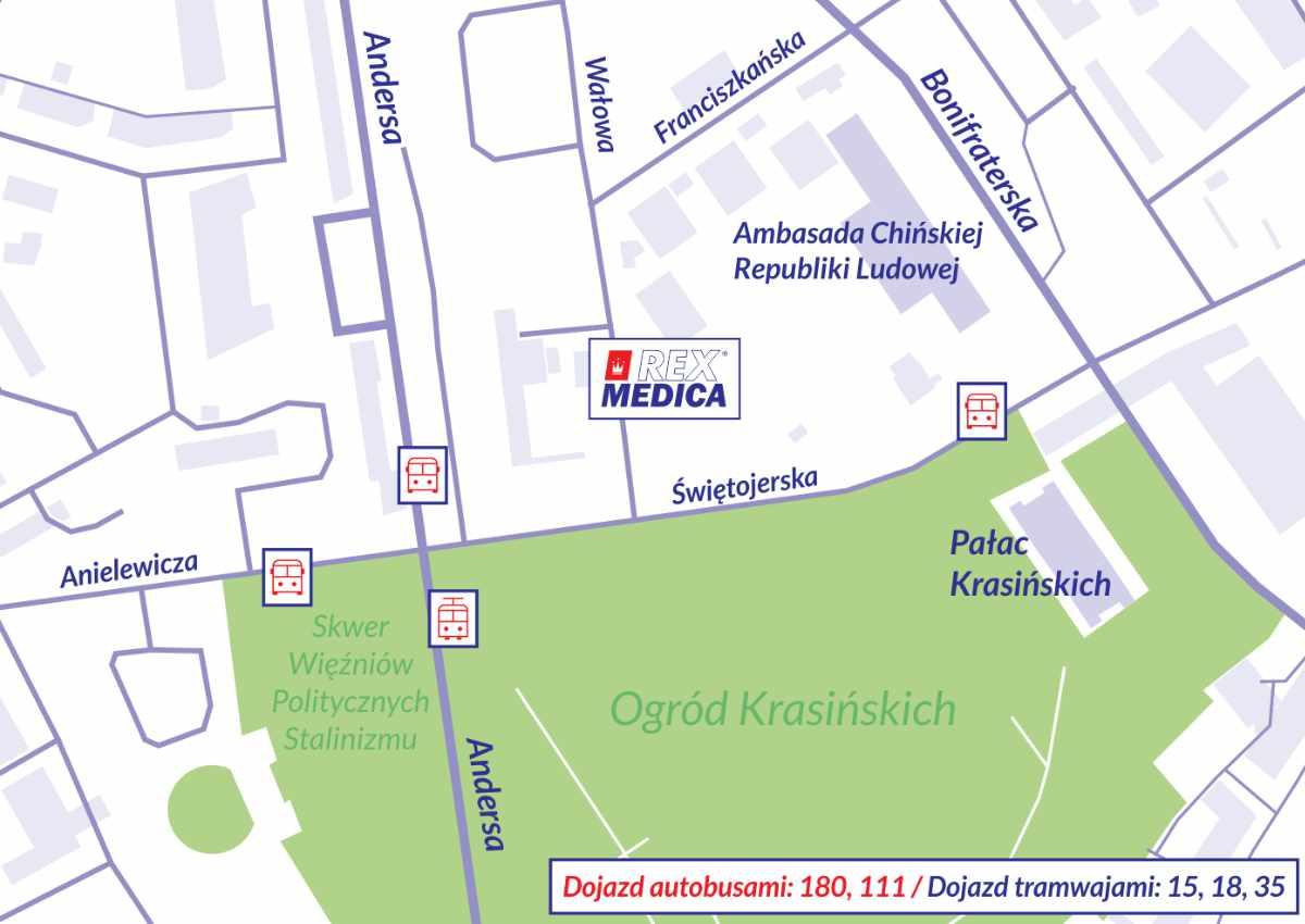 Mapa dojazdowa Rex Medica ul. Wałowa 3